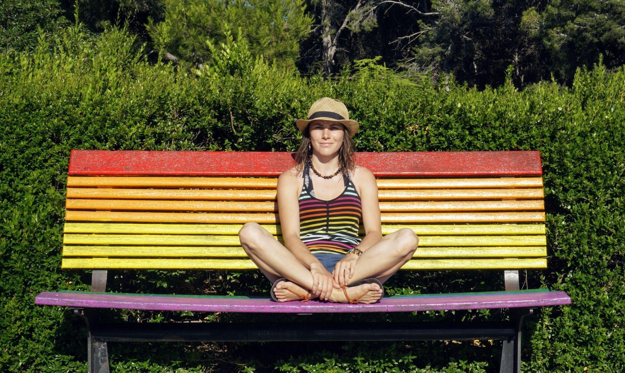 Pocahontas na lavičce ve Valencii.