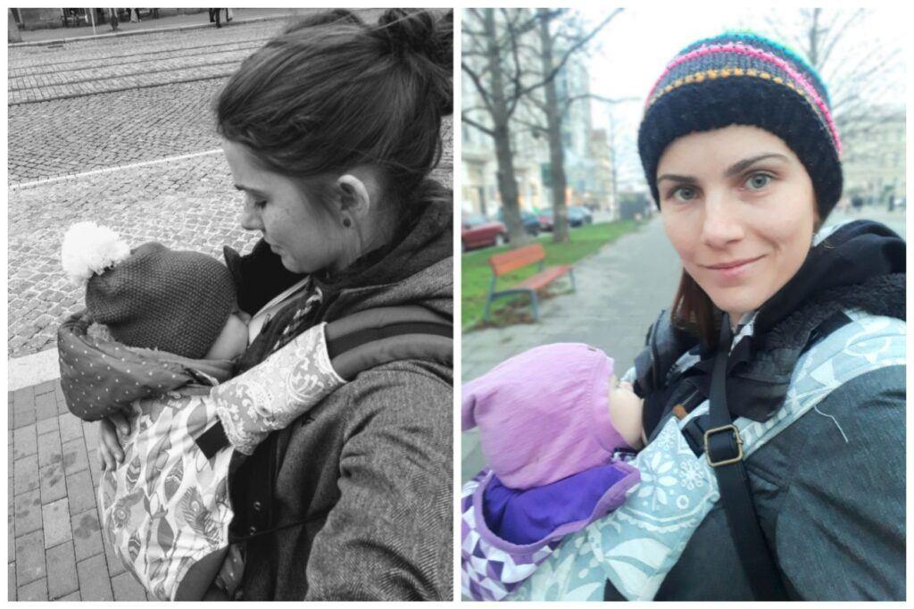Diskrétní kojení na veřejnosti je možné i v ergonomickém nosítku.