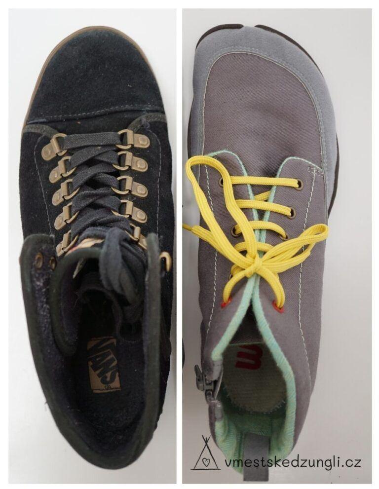 Srovnání boty konvenční se zužující se špičkou a barefoot bota s krásně dostatečným prostorem pro prsty.
